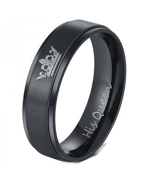 Fashion DIY Couple Jewelry Her King and His Queen Stainless Steel Wedding Rings for Women Men