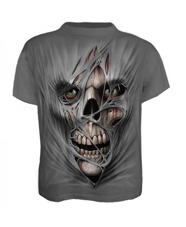 Plus Size Men's Casual 3D Zombie Print Skull Short Sleeves T-shirt