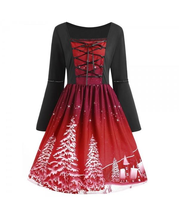 Plus Size Lace Up Christmas Tree Print Dress