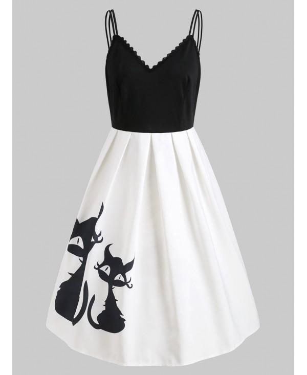 Black Cats Print Open Back Retro Dress