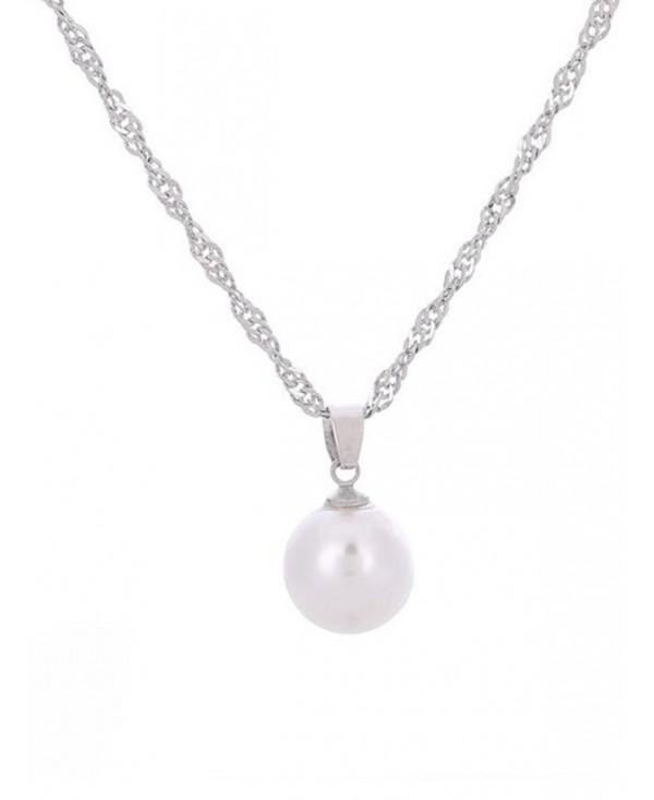 Faux Pearl Collarbone Pendant Necklace