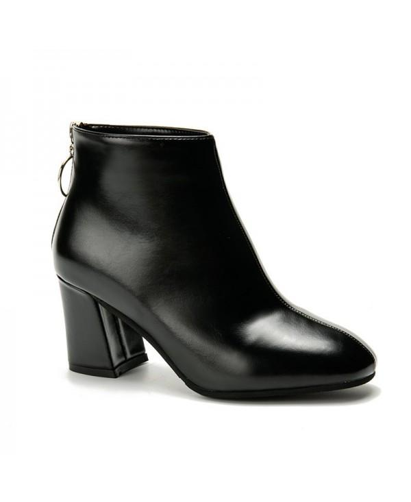 ALS-A65 Round All-Match Fashion After The Zipper Thick Heeled Boots