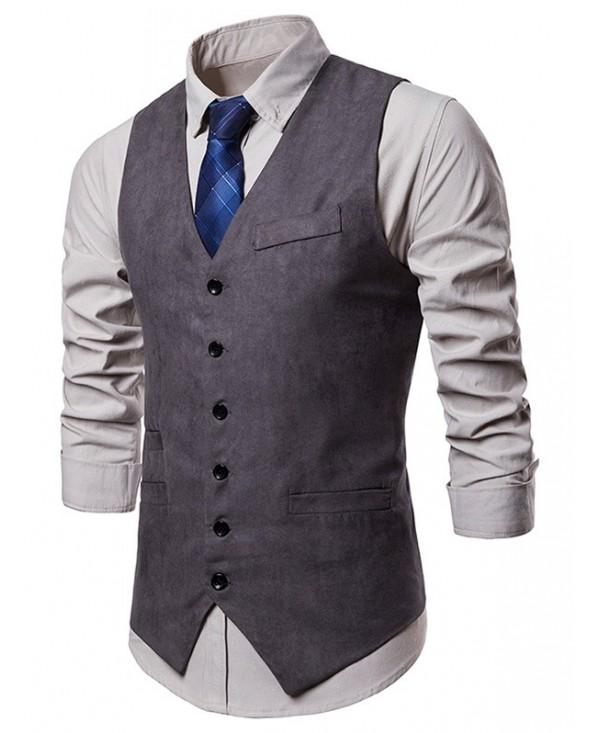 V Neck Faux Pocket Suit Vest