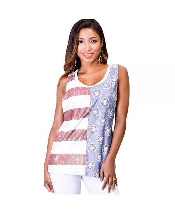 U Neck Striped and Star Print Tank Top