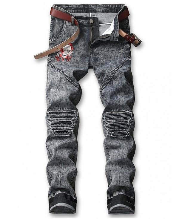 Skull Embroidery Knee Pleated Patchwork Faded Jeans