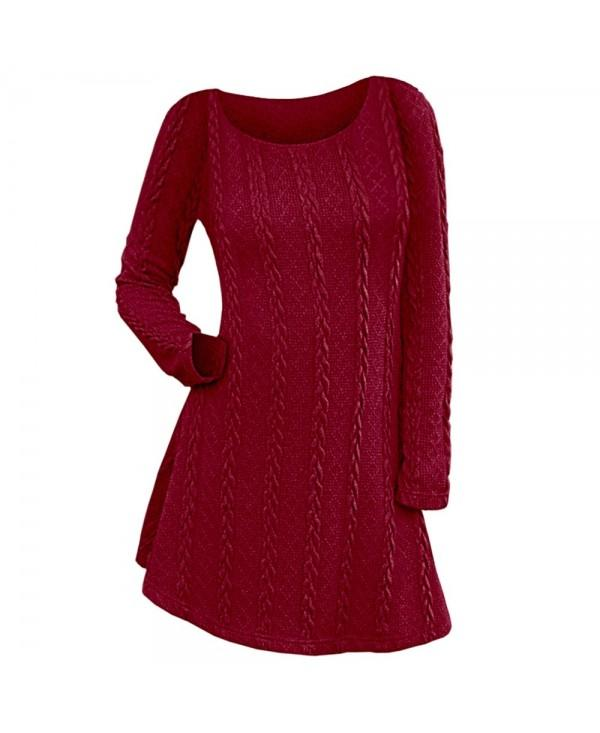 Long Sleeve Cable Knit Dress Women