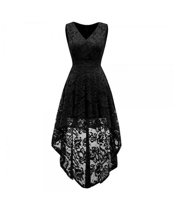 Women's Wear V Collar Sleeveless Cocktail Lace Dress