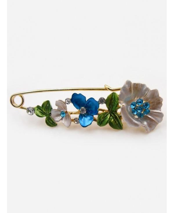 Flower Faux Diamond Brooch Pin