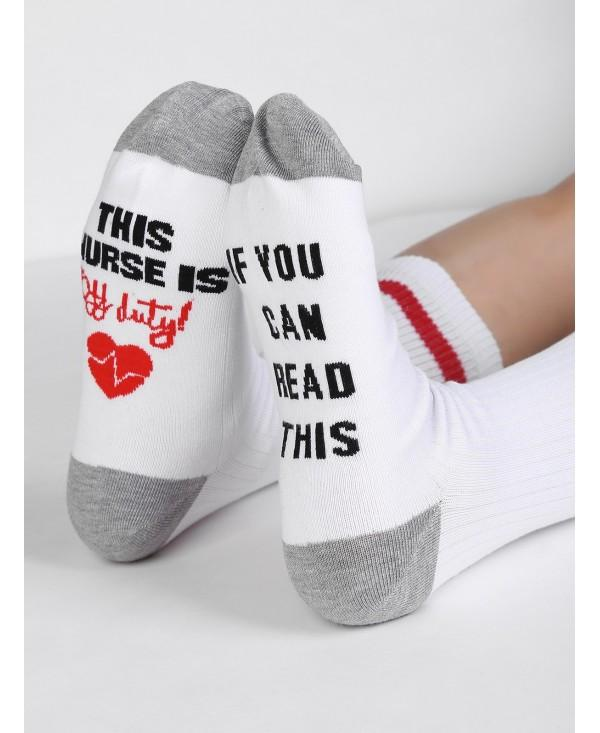 IF YOU CAN READ THIS Embroidered Mid Calf Socks