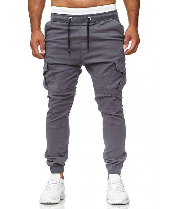 Solid Drawstring Multi Pockets Sports Casual Pants