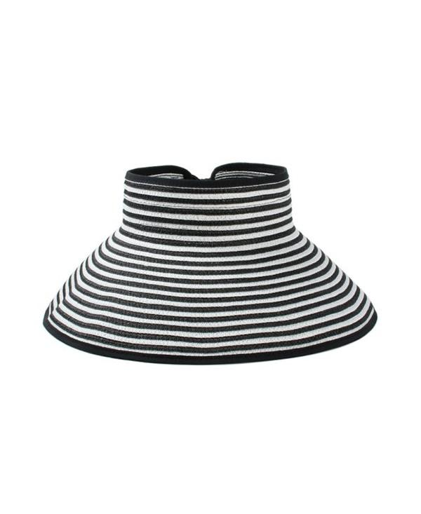 Striped Pattern Open Top Foldable Sunscreen Hat