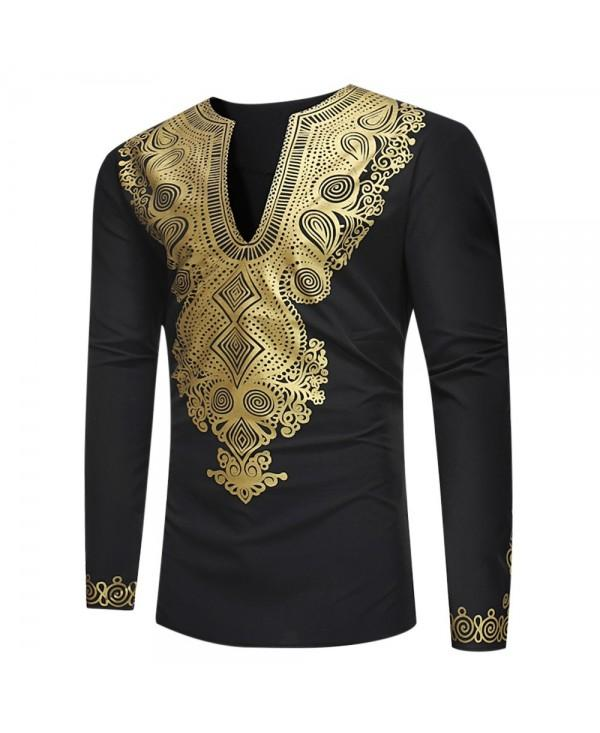 V-neck Collar Ethnic Style Printing Shirt Men Top