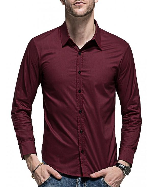 Slim Fit Curved Hem Long Sleeve Shirt