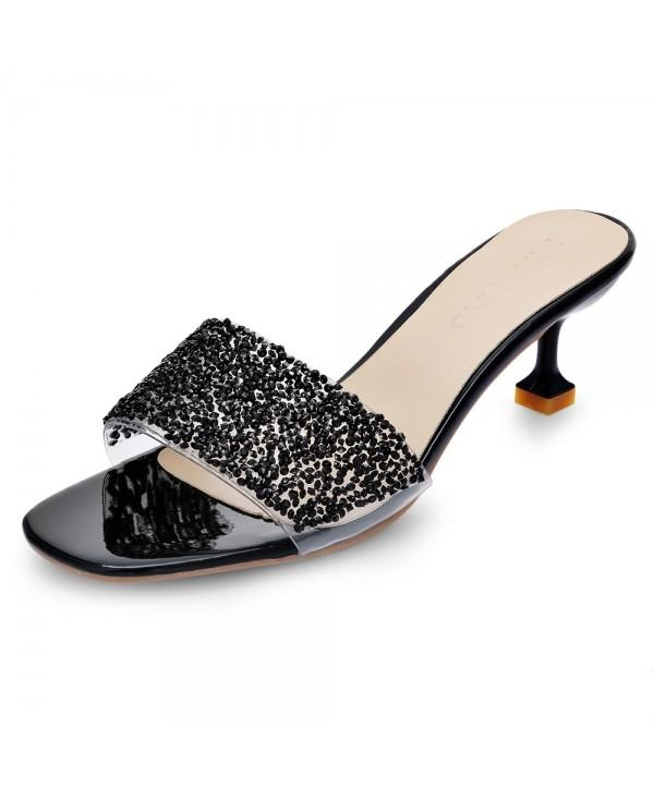 Open-toe Middle Kitten Heel Rhinestone Sequined Sandals Slippers for Women