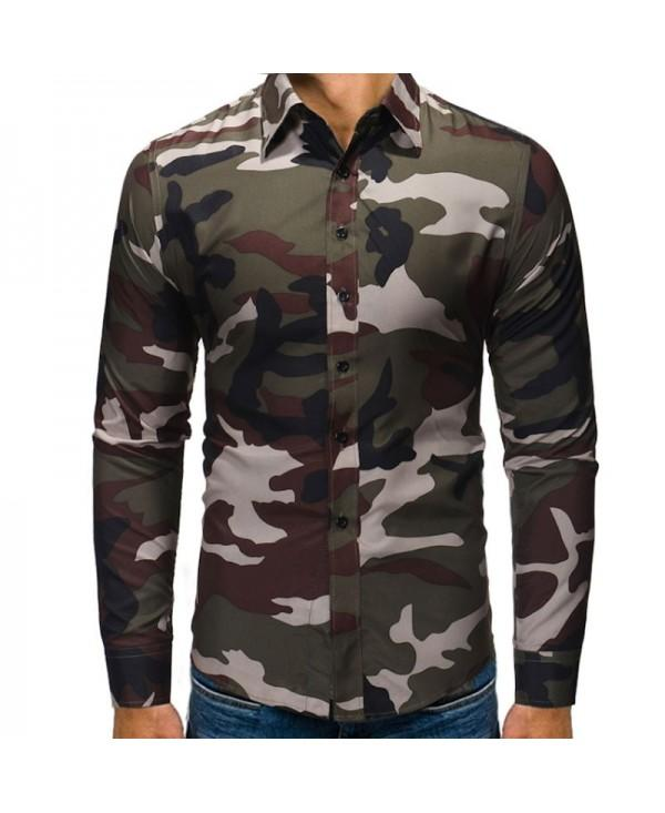 Men's Fashion Camouflage Long Sleeved Casual Shirts