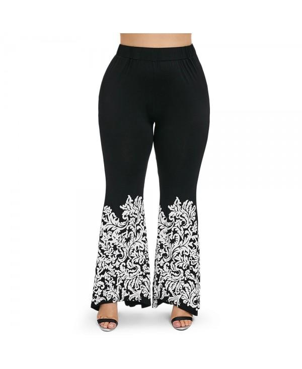 Plus Size Ethnic Leaves Print Elastic Waist Flare Pants