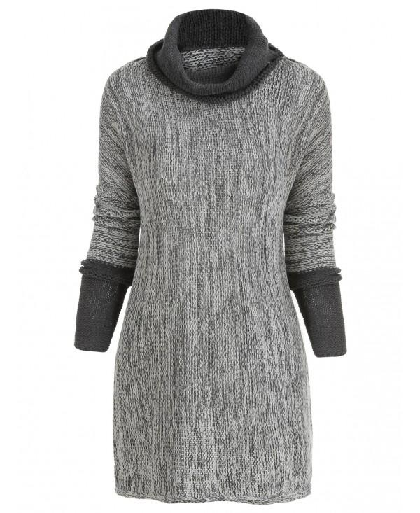 Contrast Cowl Neck Tunic Sweater