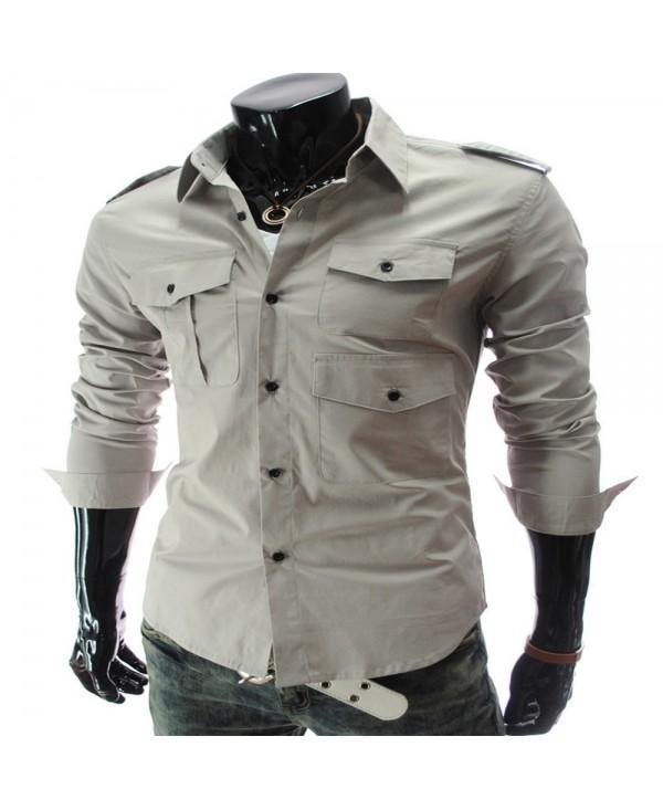 New Multi-Pocket Epaulettes Men's Luxury Slim Casual Long-Sleeved Shirt