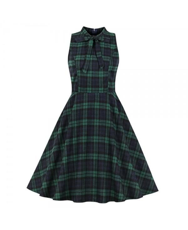Stand Collar Sleeveless Plaid Print Bowknot A-line Women Vintage Dress