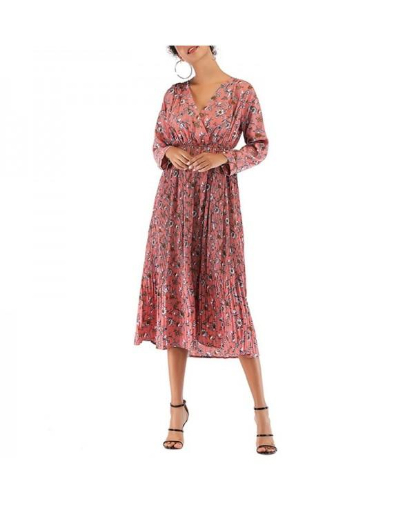 V-Neck Small Floral Pleated Chiffon Waist Long-Sleeved Bottoming Dress