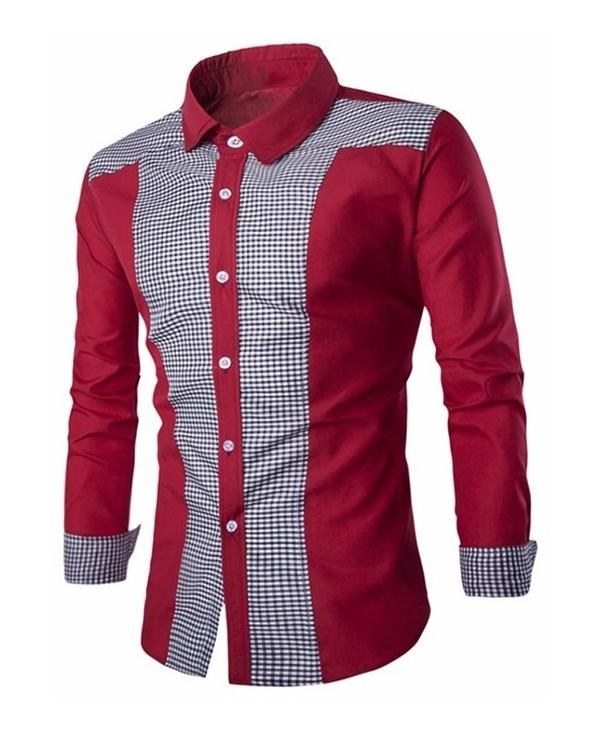 Plaid Color Block Long Sleeve Shirt