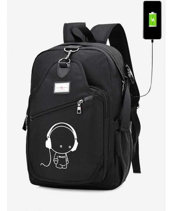 Luminous Cartoon Print USB Charging Port Backpack