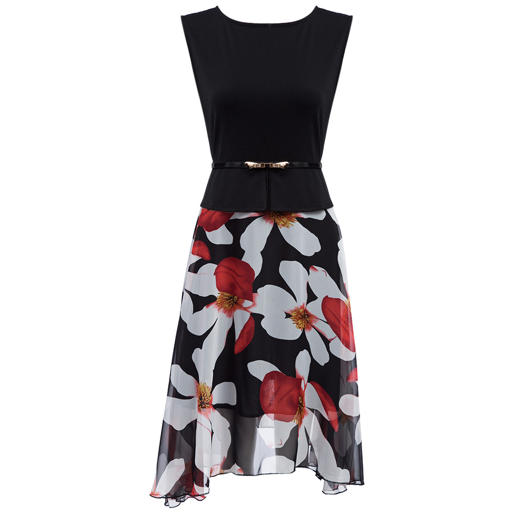 Spliced Faux Twinset Slim Waist Loose Dress with Belt for Ladies