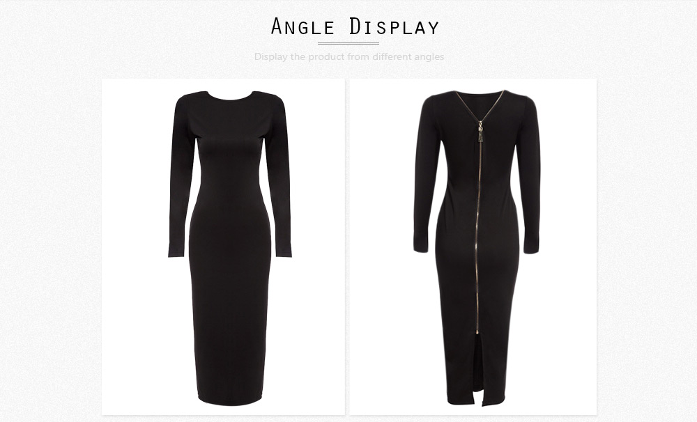 Simple Round Collar Long SLeeve Zipper Design Skinny Women Midi Dress