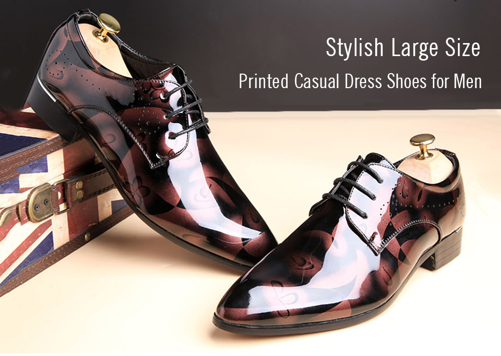 Stylish Large Size Printed Casual Dress Shoes for Men
