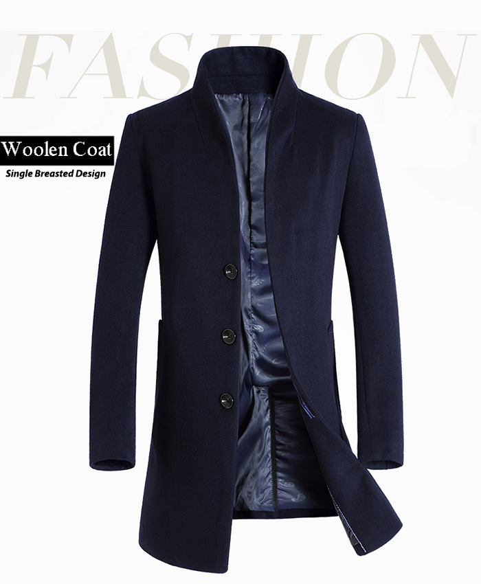Stand Collar Single Breasted Back Slit Woolen Coat