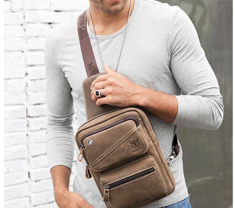 Men Chest Bag Clasp Genuine Leather Messenger Crossbody Fashion Cellphone pocket