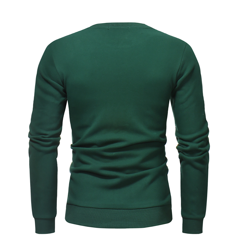 Men's Round Neck Solid Color Long-Sleeved Casual Sweater