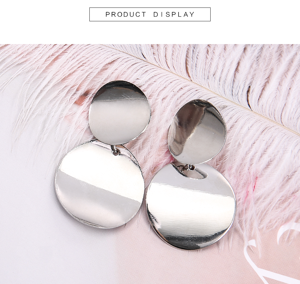 Simple Metal Round Hollow Geometric Round Earrings Wild Fashion Long Earrings