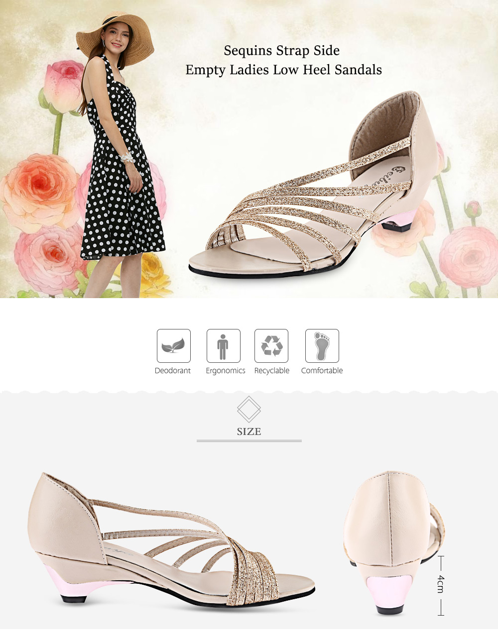 Open Toe Sequins Strap Side Empty Low Heel Sandals for Women