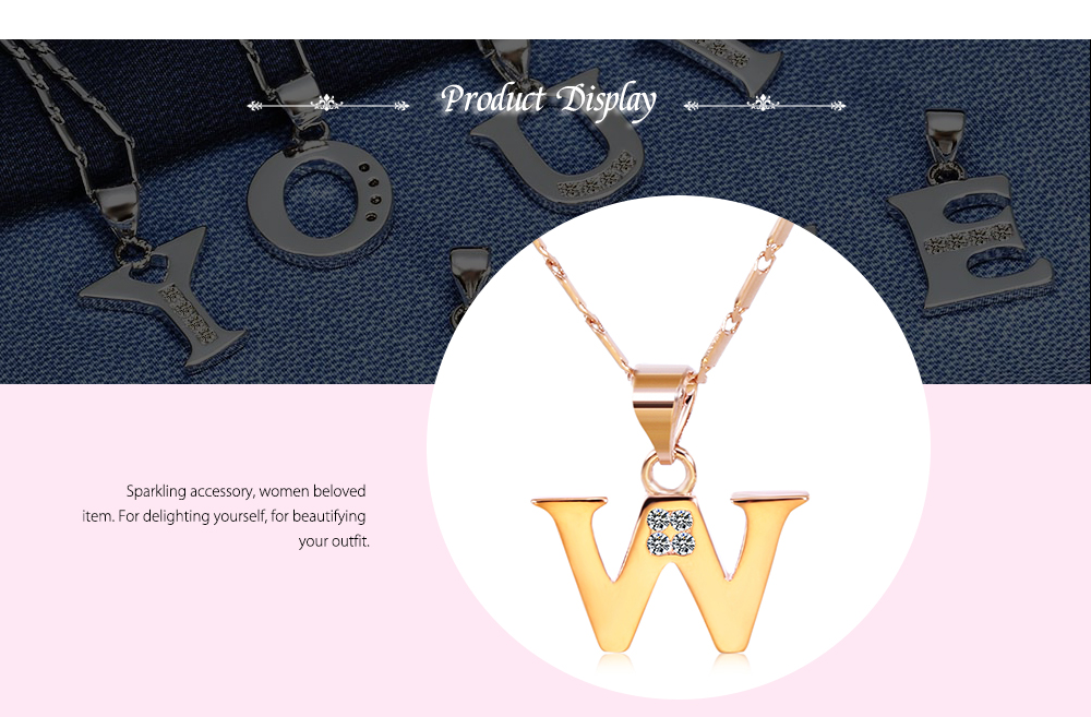 Women Chain Sparkling Rhinestones 26 English Letters Shape Pendant Necklace
