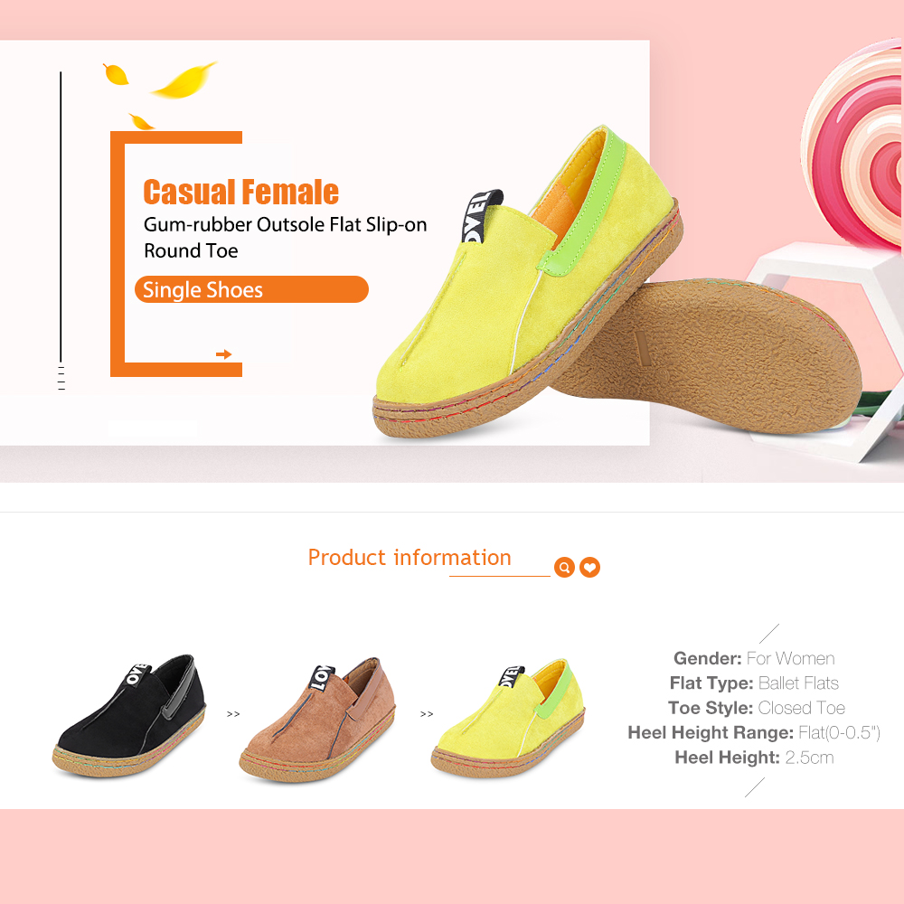 Casual Female Gum-rubber Outsole Flat Slip-on Round Toe Single Shoes