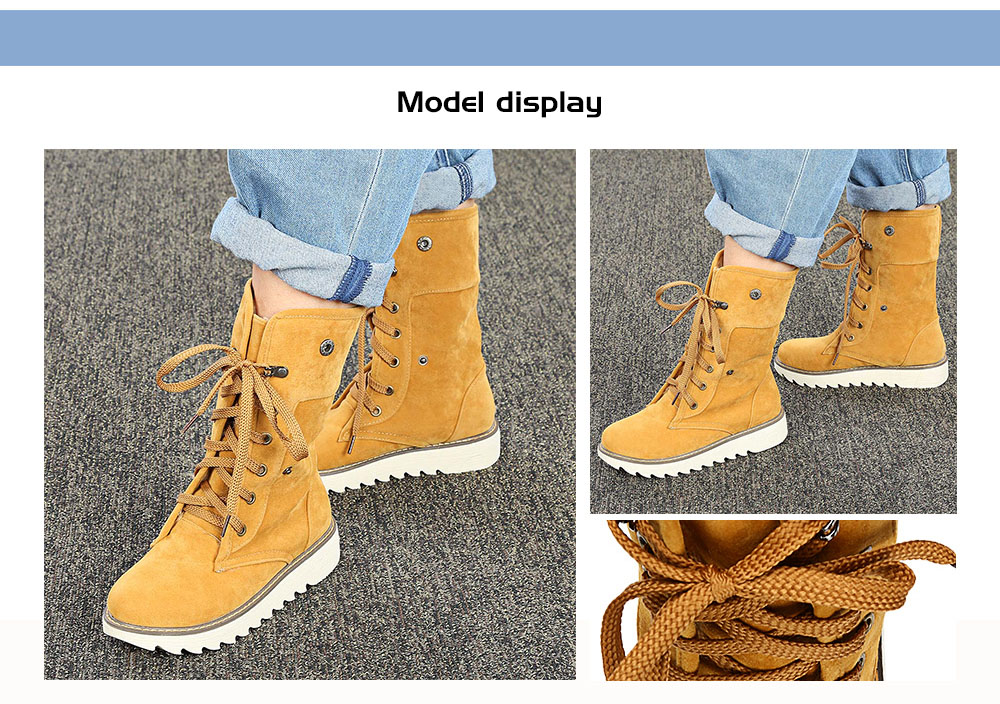Female Winter Thicken Flat Suede Skid-resistant Foldable Tube Lace-up Boots