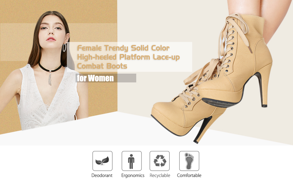 Female Trendy Solid Color High-heeled Platform Lace-up Combat Boots