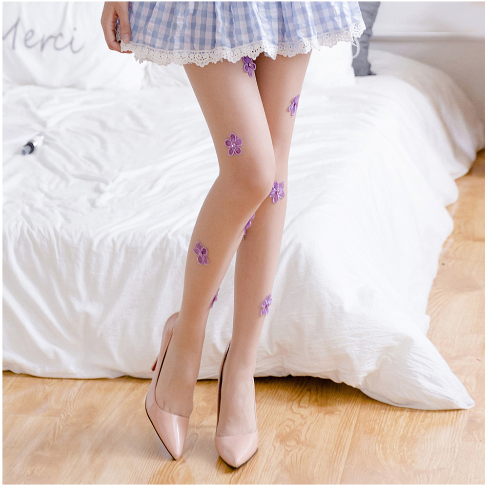 Sexy Thin Silk Stockings Diamond Embroidered Pantyhose for Women