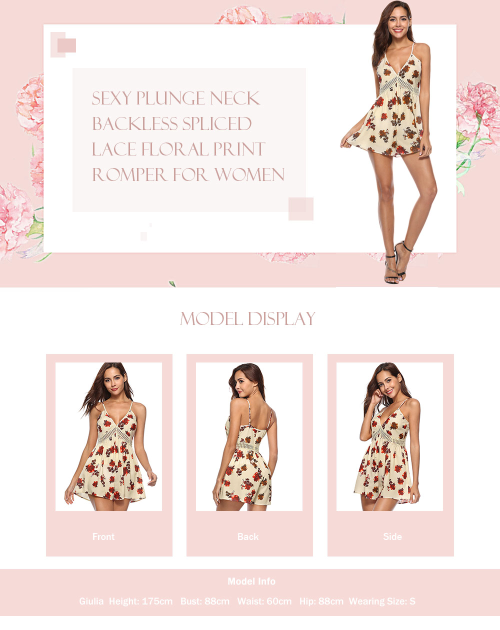 Sexy Plunge Neck Spaghetti Strap Backless Spliced Lace Floral Print Playsuit Women Romper