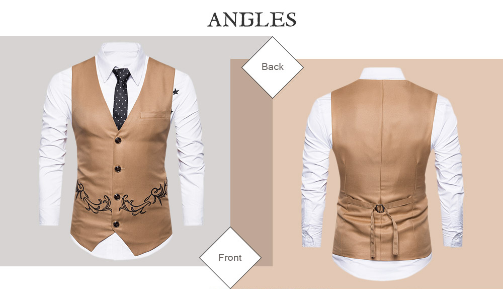 Men Business Suit Vest Button Sleeveless Slim Fit Skinny Wedding Waistcoat