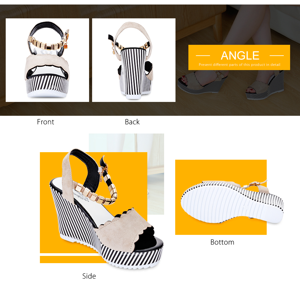 Open-toe Wedge High Heel Ankle Strap Buckle Women Shoes Sandals