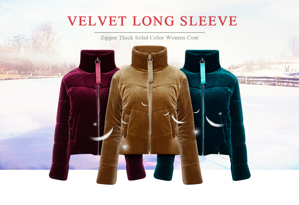 Velvet Long Sleeve Zipper Thick Solid Color Women Coat