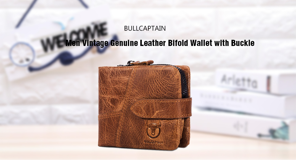 BULLCAPTAIN Male Vintage Genuine Leather Bifold Wallet with
