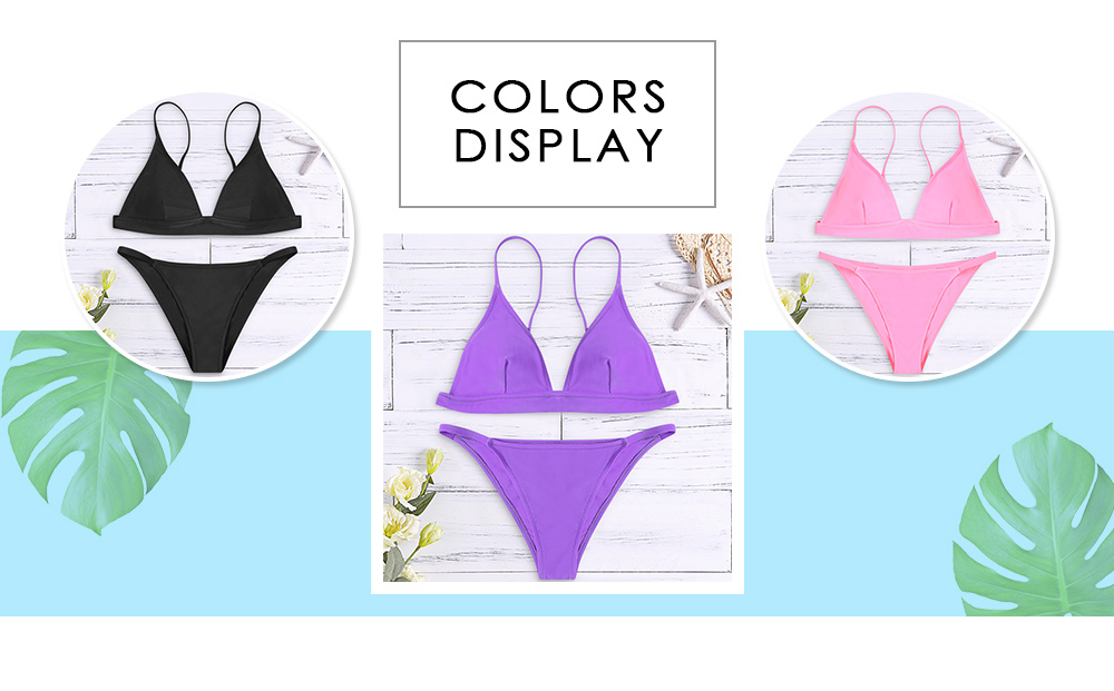 Spaghetti Strap Backless Padded Solid Color Low Waist Sexy Two-piece Women Bikini Set