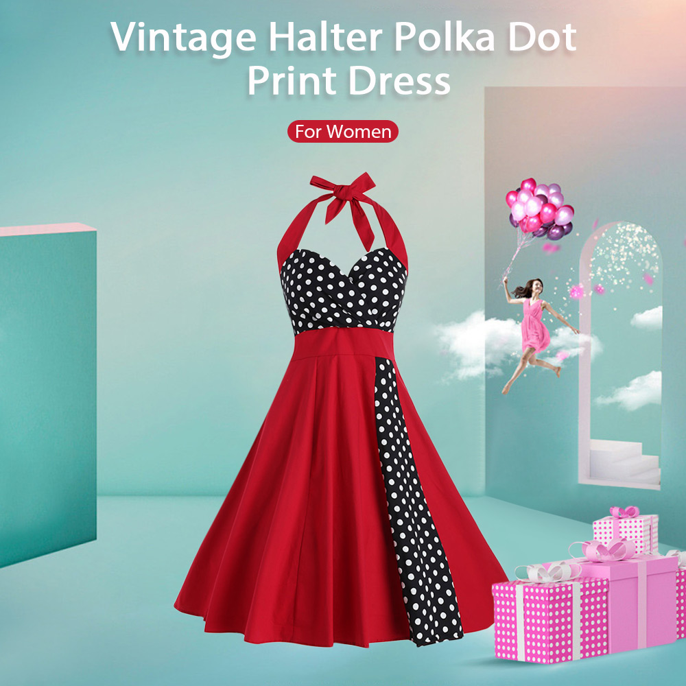 Vintage Halter Polka Dot Print Dress