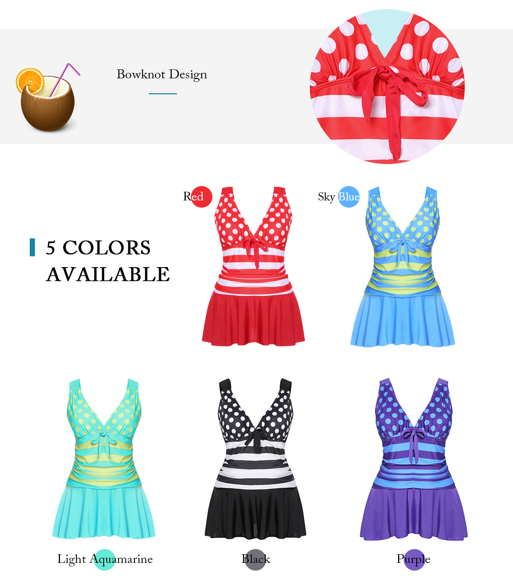 Plus Size Dots Print Padded Tankini Set Stripy Women Swimsuit