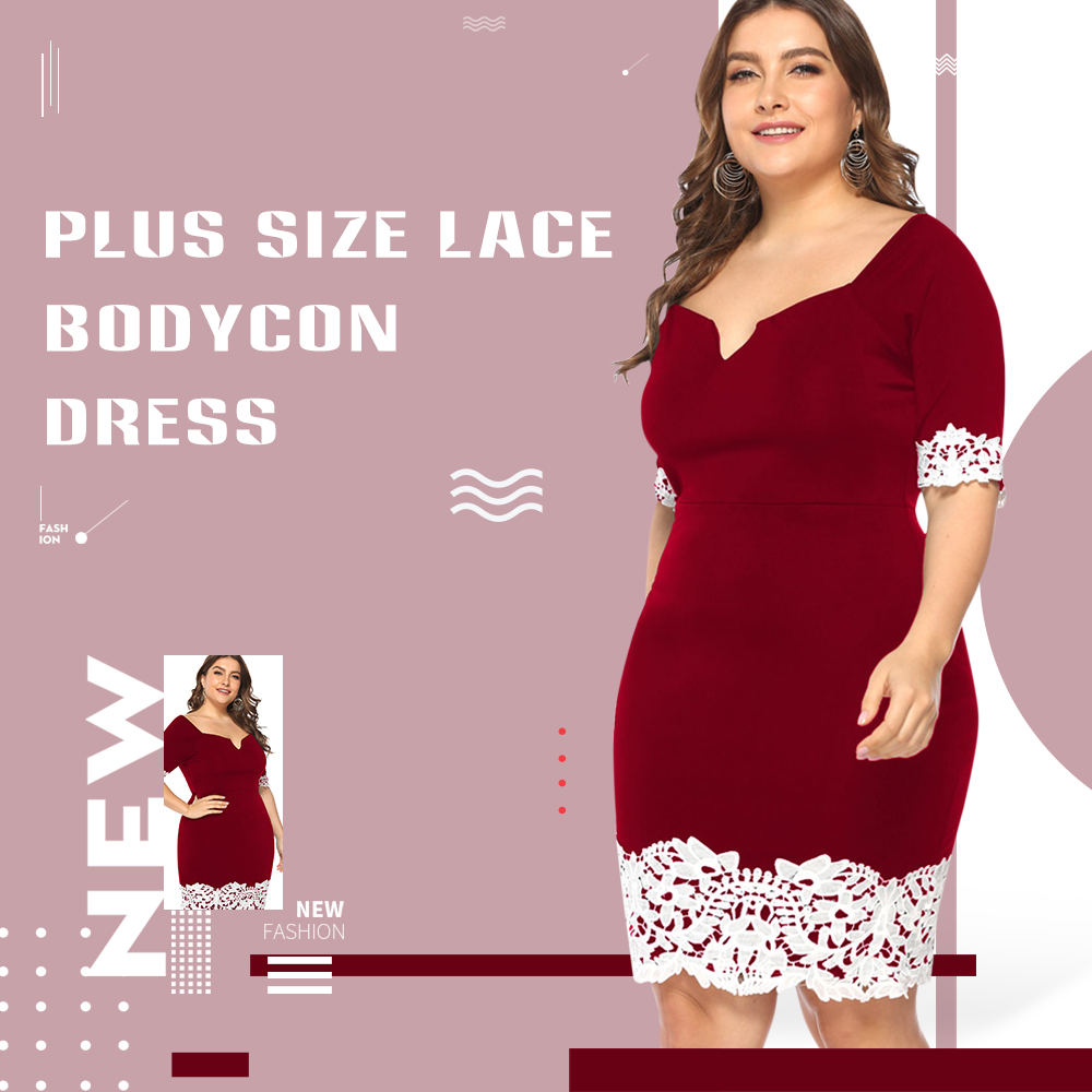Lace Trim Plus Size Bodycon Dress