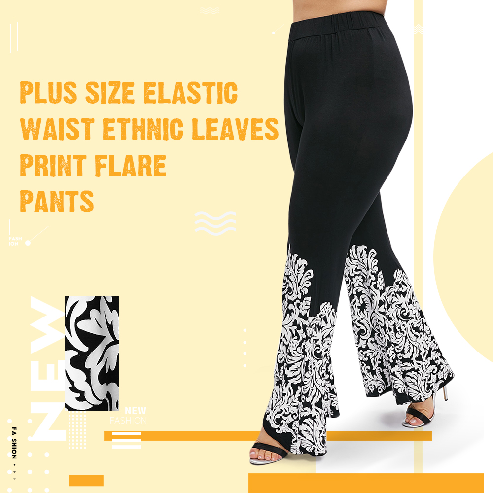 Plus Size Elastic Waist Ethnic Leaves Print Flare Pants