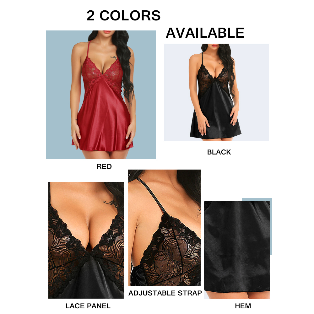 Lace Panel Criss Cross T Back Babydoll